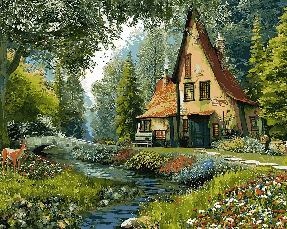 картинки сказочного домика в сказочном лесу моста подозрительно кирпичные