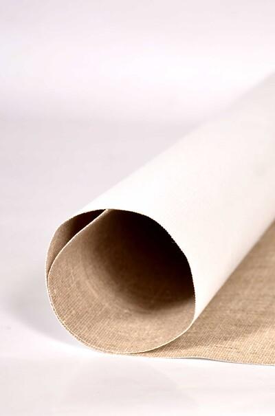 Лляне полотно із грунтовим покриттям з акрілу. Колір білий.В рулоні