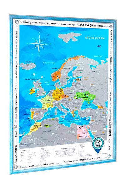 Скретч-карта Европы в деревянной раме