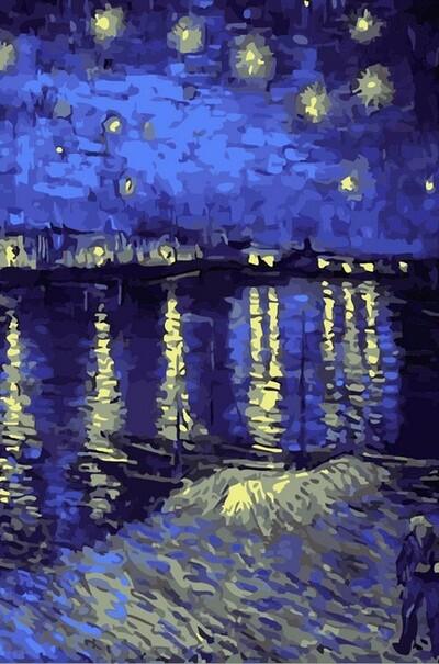 Звездная ночь над Роной худ. Ван Гог Винсент