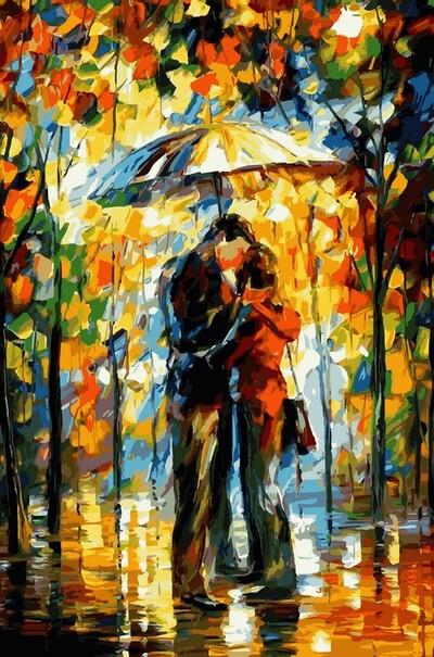 Поцелуй под зонтом худ. Афремов, Леонид  (арт. VP527)