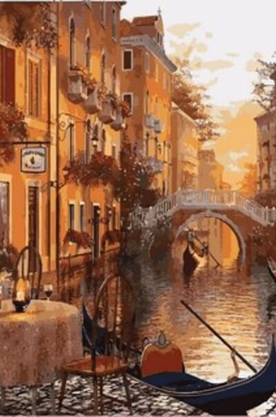 Венеція Кафе на березі каналу, худ. Домінік Девісон  (арт. MR-Q2116)