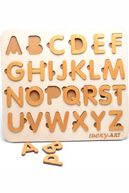 Дерев'яний англійський алфавіт на магнітах з чохлом