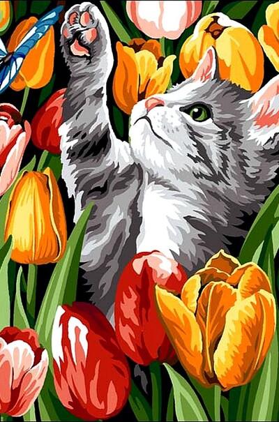 Кошеня в тюльпанах  (арт. VK178)
