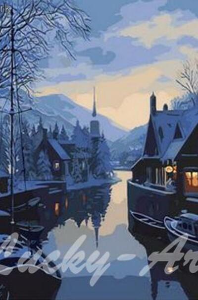 Зима в рибальському селі худ. Лушпин Євген  (арт. MR-Q1308)