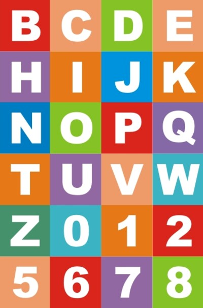 Яркий набор английских букв и цифр