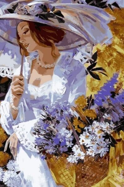 Дівчина в саду хризантем худ. Олексій Лашкевич  (арт. VP635)