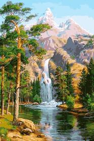 Водоспад в сосновому лісі