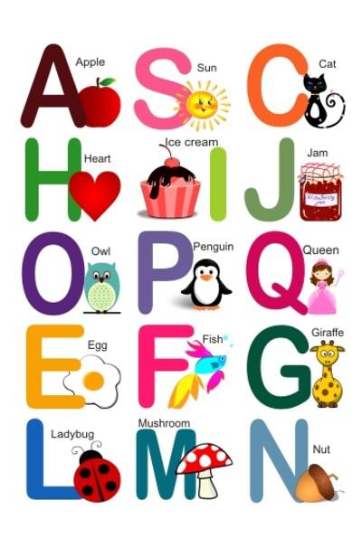 Яскраві англійські літери на магнітах