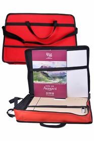 Красная сумка-портфель (ширина 8см)