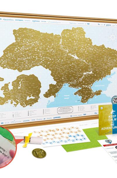 Уникальный туристический контент-карта Украины в деревянной раме