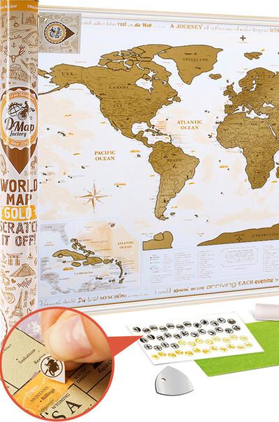 Скретч-карта мира в тубусе